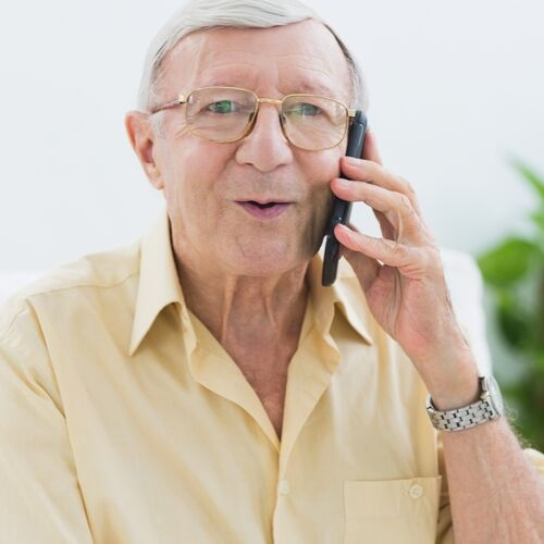 elderly man on phone